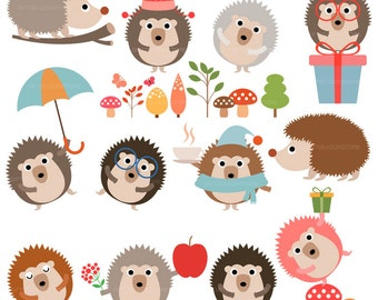 Hedgehog Digital clip art for Personal and Commercial use - INSTANT DOWNLOAD