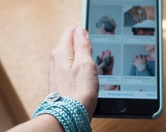 Crochet wrap bracelet. Boho Jewelry. Eco-Friendly Jewelry. Ice Blue Color. Textile Jewelry.Wrapped Bracelet.Crochet Jewelry.Crochet bracelet