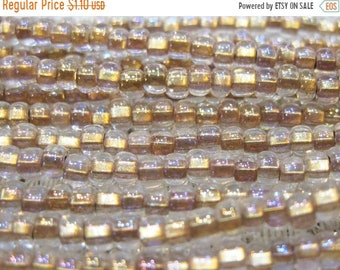 ON SALE 6/0 Crystal Bronze Lined Preciosa Czech Glass Seed Beads 12 grams
