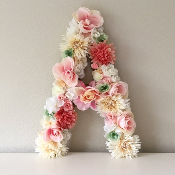 Large floral letter flower letter nursery letter floral like this item negle Images