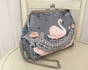 Handmade vintage style pink swan fabric clutch purse with metal kisslock frame