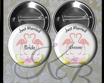 "Flamingo Honeymoon Buttons, 2.25"" Just Married Pins, Florida Wedding, Bride and Groom Pins, Tropical Bride and Groom, Wedding Keepsake"