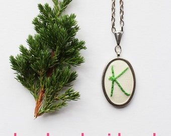 Modern Handwriting Jewelry. Cursive Initial Necklace. MADE TO ORDER Personalized Jewelry. Embroidery Jewelry. Custom Embroidered Necklace.