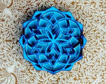 Seed of life merkaba terracotta, blue glaze