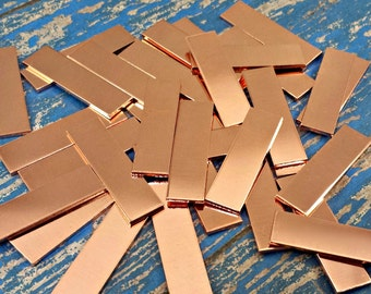 """Copper 3/8"""" x 1 1/4"""" Rectangle Stamping Blanks - Tags"""