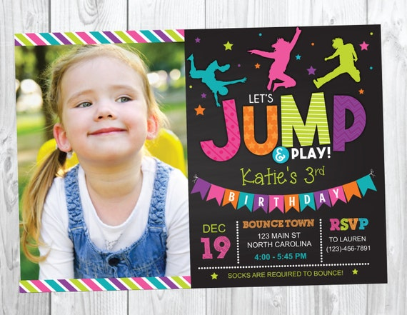Bounce House Birthday Invitation - Trampoline Jump Birthday Invite - Girl Bounce Birthday - Bounce and Play! Trampoline Birthday Party