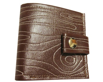 Faux Bois ) Bifold Wallet with Snap (Plus Zipper)