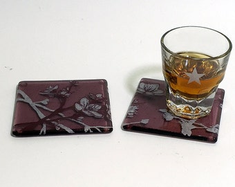 Cherry Blossom Fused Glass Coaster 2-pack, Flower coaster, Japanese, set of 2