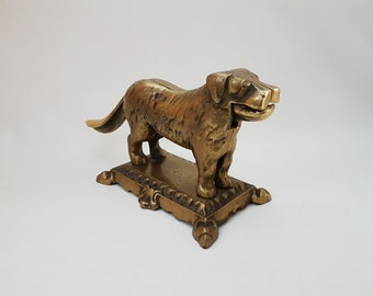 Antique mechanical solid brass table nutcracker | Saint Bernard | Large | Heavy #189A676X10