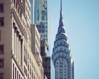 New York City Photography NYC art print New York wall art decor architecture fine art photography - Chrysler in Blue & New york wall art   Etsy