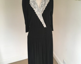 Vintage 80s Black Wrap Style Lace Collar Maxi/Midi Dress