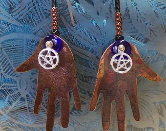 Our Voice - Our Actions - Speak Out - Harm None, Copper Earrings. with Pentagram - Signed  NO Shipping