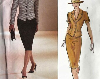 Sewing pattern Vogue 2629 Fitted shaped top or jacket collar welted pockets sleeves and raised waist skirt Size 6-8-10 Couture uncut