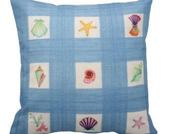 Shells and Sealife PIllow on Blue