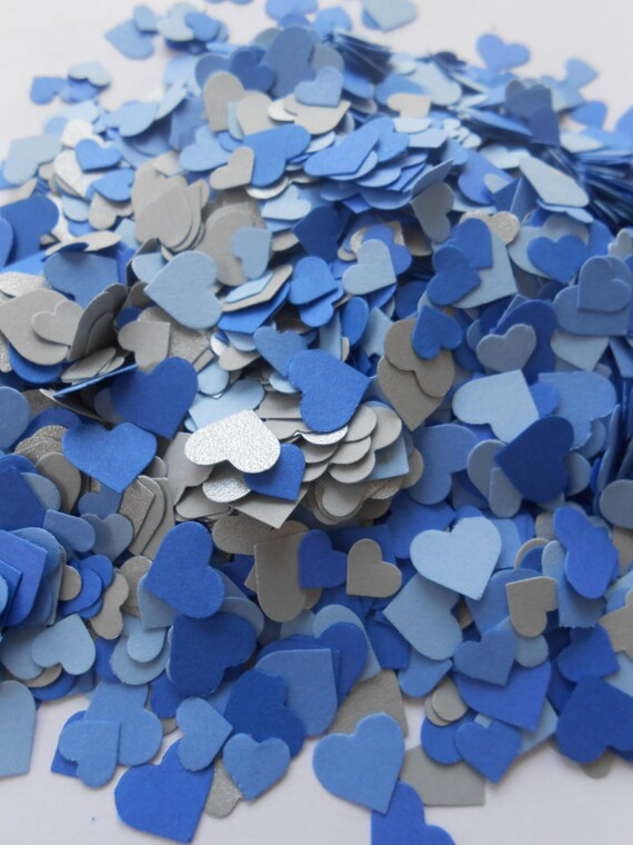 Over 2000 Mini Confetti Hearts. Shades of Blues & Silver. Weddings, Showers, Decorations. ANY COLOR Available.