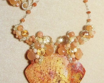 Peach Moonstone, Citrine, Lemon Quartz and Feather Ridge Plume Agate Sterling Necklace - Wire Wrapped, OOAK