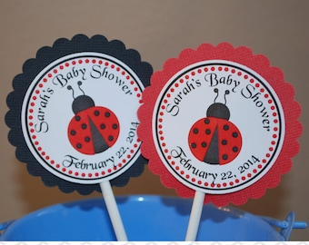 LadyBug Cupcake Toppers - Set of 12 Personalized Birthday Baby Shower Party Decorations