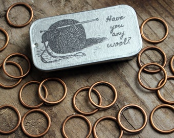 20 Solid Copper Ring Knitting Stitch Markers with Tin, Knit Stitch Markers, No Snag Stitch Markers, Ring Stitch Markers, Gift for Knitter