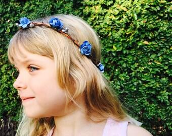 blue flower girl flower crown - rustic wedding hair accessories - floral headband - wedding flower crown -bohemian flower girl hair