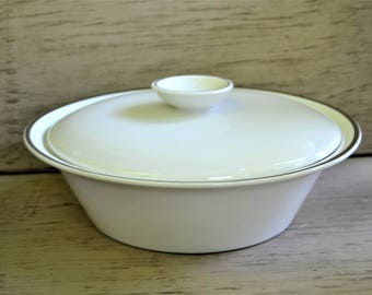 CASSEROLE English Ironstone Ceramic Covered Casserole Bowl Silver Elegance Gilded Edge