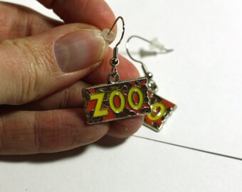 Zoo earrings - enamel charm earrings - Fun at the zoo charm accessories - gift ideas - vacation reveal