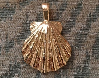 Lovely Gold Metal Scallop Pendant by Gay Boyer