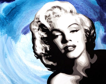 "Marilyn Monroe in Blue signed 18x24"" Art on canvas giclee"