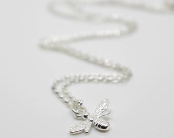 Sterling Silver Bee Pendant Necklace - Gift for her - Gift for mum - UK Seller - Boxed Jewellery Gift - Bee Jewellery