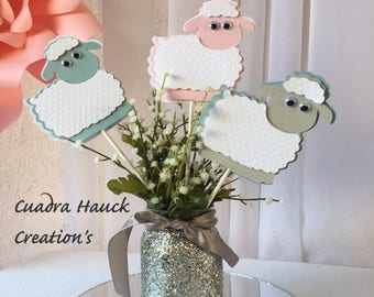 Lamb centerpieces stick/ Baptism sheep/ Little lamb/ Baby sheep/ Baptism Lamb
