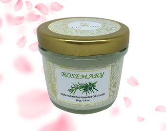 Scented Natural Soy Candle Rosemary in Small Jar 80 g (2.8 oz) - 24 Hour Burn Time
