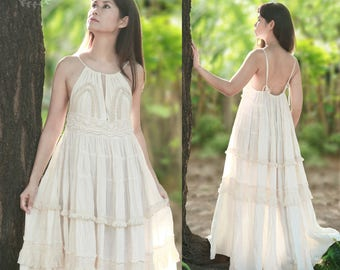 Boho Maxi Dress in Off White, Bridesmaid Dress, Loose Fitting Lace Dress, Summer Beach Wedding Dress, Keyhole Drawstring, Empire Waist