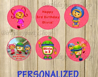 Team Umizoomi Cupcake Toppers, Team Umizoomi Birthday Circles, Personalized , Digital File
