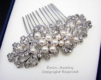 Wedding Hair Accessories,Bridal Hair Combs. Pearl Rhinestone Crystal Vintage Style Wedding Hair Pieces Fascinator Hair Vine H1034