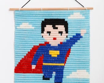 Wall Art Embroidery kit, SUPERHERO Birthday Gift, Embroidery Kit For Beginners, Easy needle kit, DIY for Children, Needlepoint Kits for boys