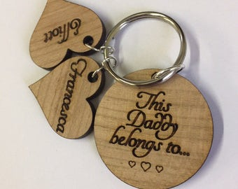 Personalised key ring, Dad key ring, Daddy key ring, Keychain, gift for Dad, Father's Day present, wooden key ring