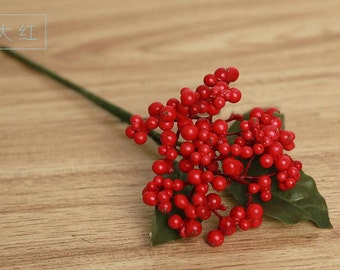 Artificial Berries, Red Berries, DIY Project, Wreath Berries, Bouquet Berries, 10 Stems