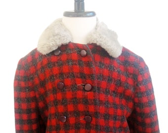 Vintage Coat, Red Plaid Wool Coat Double Breasted, Toddler Girl Coat, Girl's Jacket, 5T Girls, 1970's