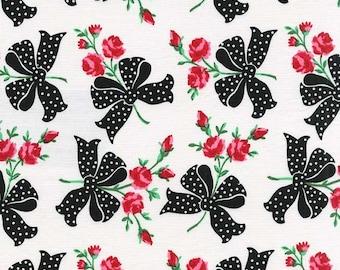 Retro Roses Faye in Black or Aqua Color,  Michael Miller Retro Florals Cotton fabric