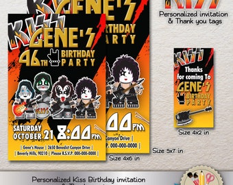 DIGITAL PERSONALIZED Kiss Band Rock and Roll Birthday Invitation And Thank you tags PRINTABLE Jpg 300dpi