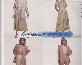 McCalls 6338 CLEARANCE Vintage Pattern Womens Unlined Jacket, Top, Skirt and Pants  Size 16,18,20 UNCUT