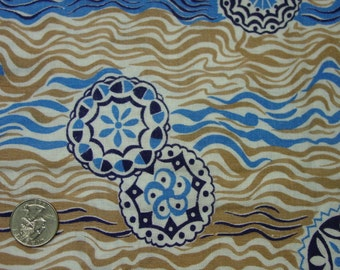"""Novelty Vintage Feedsack Fabric, Still a Sack, Blues & Browns, 33 x 40"""" When Opened"""