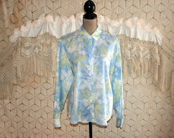 Light Blue Floral Shirt Women Long Sleeve Button Up Cotton Blouse Casual Tops for Women Large XL Liz Claiborne Womens Clothing