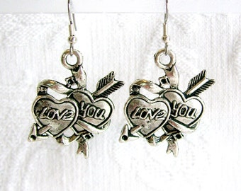 Valentines LOVE YOU Double Hearts Pierced or Clip On Earrings