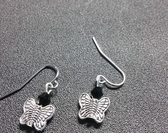Silver tone Butterfly earrings