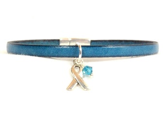 Myasthenia Gravis Awareness Bracelet - Teal 5mm Flat Leather with Magnetic Clasp (5A-140m)
