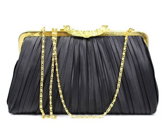 Vintage Black Pleated Fabric Clutch