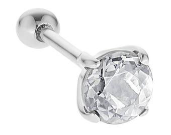 Diamond 14K White Gold Cartilage Helix Stud Earring .50CT