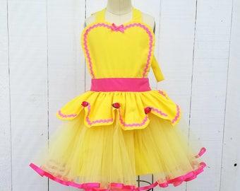 BELLE apron for girls, Belle TUTU apron, Dress up apron,  Belle costume apron, Princess dress up