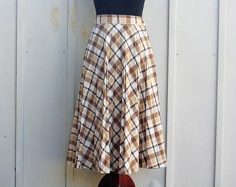 Brown Plaid Skirt - Vintage Tartan Skirt - Knee Length Plaid Skirt - High Waist Circle Skirt - 70s Skirt - 1970s Skirt - Indie Skirt - Folk