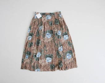 90s floral skirt | floral midi skirt | blue and brown floral skirt